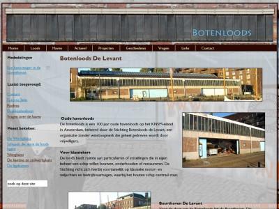 Website Botenloods de Levant door: Indysign Communicatie Amsterdam :: website, huisstijl, logo, cursus onderhoud