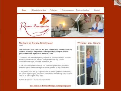 Website Rianne Beautysalon door: Indysign Communicatie Amsterdam :: website, huisstijl, logo, presentatiemateriaal